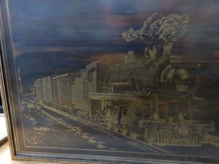 framed locomotive etched image