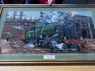framed needle point locomotive image