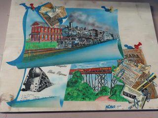 locomotive art piece depicting local St  Thomas