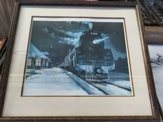 4 framed locomotive prints