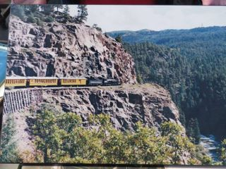 5 railroad images mounted on board