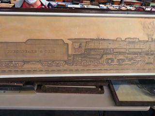 large pencil drawing of C O steam engine