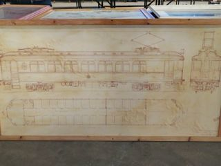 mounted blueprint of l PS passenger car