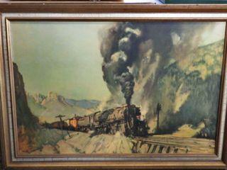 print mounted on board of locomotive