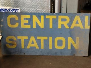 single sided metal  Central Station  sign