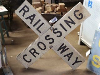 double sided railroad crossing sign