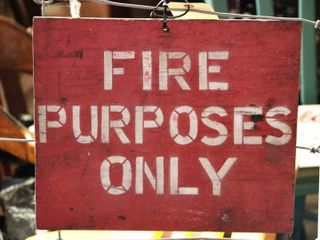 wooden painted  Fire Purposes Only  sign