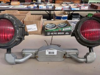 pair of railroad signal lights with mounting