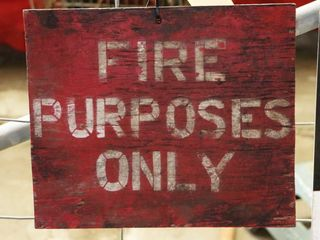 single sided woodden  Fire Purposes Only  sign