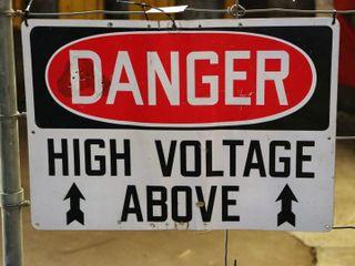 single sided aluminum  Danger  sign