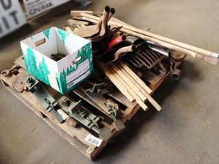 pallet lot of hand tools  parts  and metal items