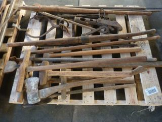pallet lot of wood handled hand tools
