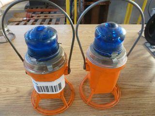 2 plastic railroad hand lanterns