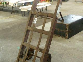 large wood and metal baggage cart