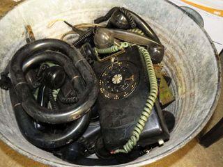 galvanized tub full of telephone parts   pieces