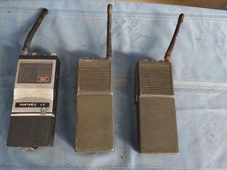 box of portable walkie talkies