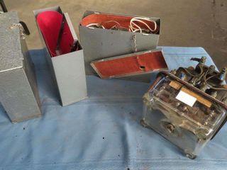 box of phone equipment   batteries