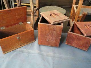 3 wooden tea boxes
