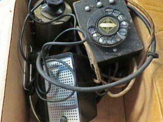 box of misc  phone parts  speaker   headset