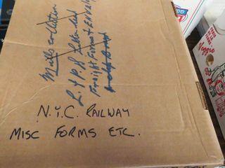 box of NYC Railway misc  forms   ephemera