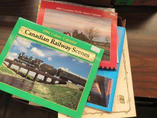 box of misc  railroad calendars