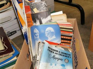 box of  Brotherhood  railroad magazines