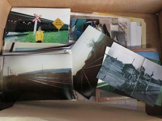 box of railroad photographs