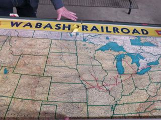 Wabash Railroad map and early locomotive print
