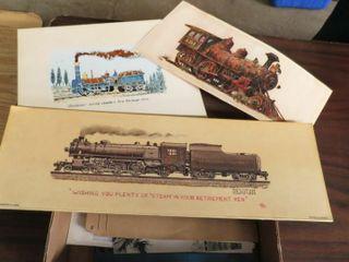 box of misc  railroad images   prints