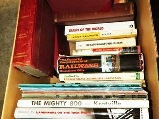 2 boxes of railroad books  magazines   manuals