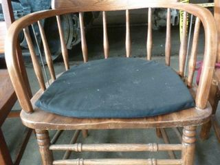 wooden armed Windsor chair