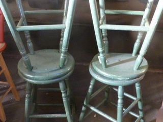 4 painted wooden stools