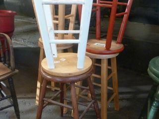 5 wooden stools