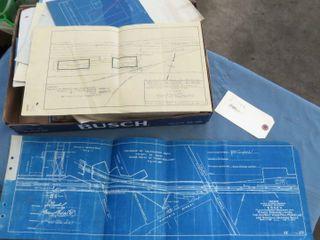 box of railway blueprints