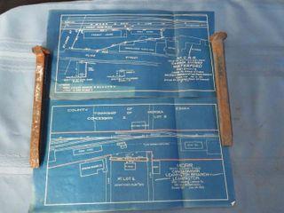 box of railroad blueprints