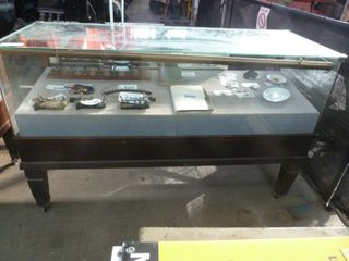 large early glass front jeweller s cabinet