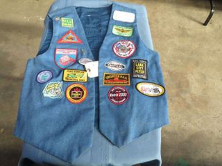 Demin vest with railroad patches