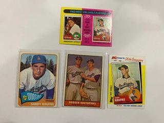 lot of 4 Sandy Koufax Cards 1965 Topps  300  1961 Topps  207  1975 Topps  201  1982 K Mart  4