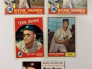 Ryne Duren lot 1959 Topps  485  1960 Topps  204  x2  1961 Topps  356  1961 Post Cereal  14