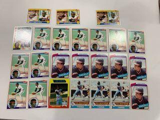 24 Card Rod Carew lot 1975 Tops  600  1979 Topps  300  x3  1980 Topps  700  x6  1983 Topps  200  x10   201  x3  1984 Topps  600
