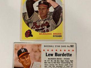 lou Burdette lot 1959 Topps  440  1961 Post Cereal  102