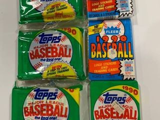 6 Sealed Packs 1990 Fleer Jumbo   Wax Pack Topps Wax Pack and Jumbo Packs  x3