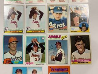 lot of 14 Vintage Nolan Ryan Cards 1975 Topps  5  1976 Topps  330  1977 Topps  650  1978 Topps  400  1979 Topps  6   115  x2   417  x4  1981 Topps  240  1983 Topps  360  1983 Fleer  463
