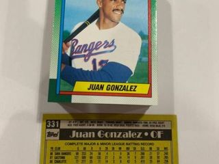 lot of 50 1990 Topps  331 Juan Gonzalez Rookie Cards