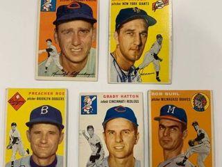 lot of 5 Classic 1954 Topps Cards  14 Preacher Roe   46 Ken Raffensberger   200 larry Jansen   208 Grady Hatton   210 Bob Buhl