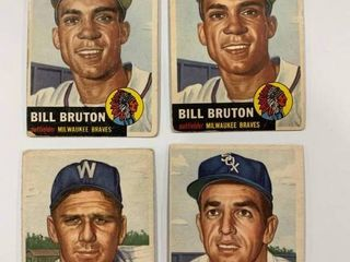 lot of 4 Classic 1953 Topps Cards  156 Jim Rivera   214 Bill Bruton  x2   219 Pete Runnels