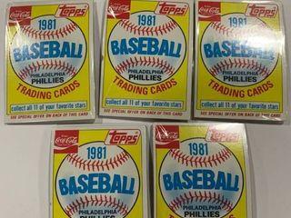 lot of 5 1981 Topps Baseball Coca Cola Philadelphia Phillies Trading Card Packs