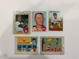 Classic Card lot 1961 Topps  45 Nl ERA leaders  Drysdale  1959 Topps Al Kaline Batting Champ  463  1967 Topps  225 Mel Stottlemeyer  1968 Topps  167 Elston Howard   215 Jim Bunning
