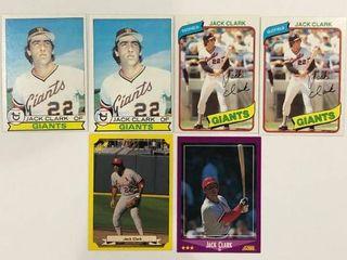 6 Card Jack Clark lot 1979 Topps  x2  1980 Topps  x2  88 Score