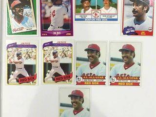 Jim Rice lot 1979 Topps All Star  400  x3  1980 Topps  200  x2  1983 Topps  381  88 Topps 88 Score